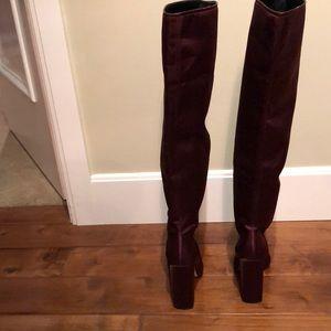 zara woman Shoes - Zara woman made in Spain satin burgundy otk boots